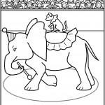 דף צביעה כלב רוכב על פיל בקרקס