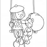 דף צביעה קוף וליצנית בקרקס