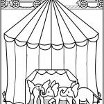 דף צביעה פילים נכנסים לאוהל הקרקס