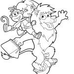דף צביעה דורה ובוטס רוכבים על אריה