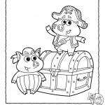 דף צביעה החזירונים ותיבת האוצרות