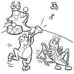 דף צביעה תזמורת הצפרדע והחרגולים