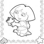 דף צביעה דורה מחזיקה בכוכב