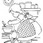 דף צביעה ילדה אופה
