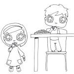 דף צביעה ילדים אוכלים