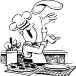 דף צביעה טבח מכין פיצה