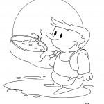 דף צביעה ילד מחזיק בסיר בישול
