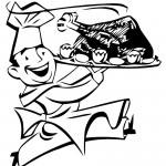 דף צביעה טבח עם מגש עוף