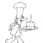 דף צביעה טבח מגיש צלחת עוגה