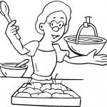 דף צביעה אישה מבשלת 2