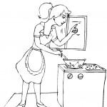 דף צביעה אישה מבשלת 1