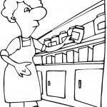דף צביעה אישה במטבח
