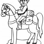 דף צביעה קאובוי משופם על סוסו