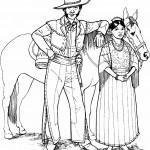 דף צביעה קאובוי ובת זוגו