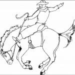 דף צביעה קאובוי רוכב על סוס משתולל