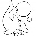 דף צביעה דולפין משתעשע עם כדורים