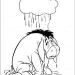 דף צביעה גשם יורד על החמור