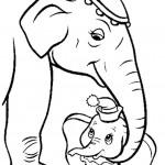 דף צביעה פילון מקבל חיבוק מאמו