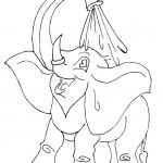 דף צביעה פיל מתקלח