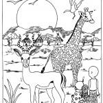 דף צביעה ג'ירפה ואיילה ליד מחנה בג'ונגל