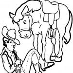 דף צביעה בוקר ישן ליד סוסו