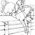 דף צביעה סוס במירוץ מכשולים
