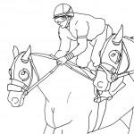 דף צביעה רוכב במירוץ סוסים