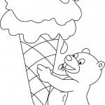 דף צביעה דובון אוחז בגלידה ענקית