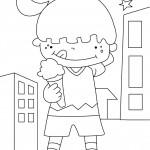 דף צביעה ילדה אוכלת גלידה