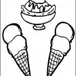 דף צביעה שלושה גביעי גלידה