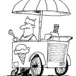דף צביעה דוכן למכירת גלידה