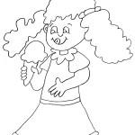 דף צביעה ילדה מלקקת גביע גלידה