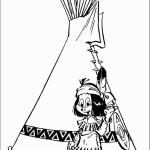 דף צביעה ילד אינדיאני עומד ליד האוהל