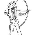 דף צביעה אינדיאני יורה בחץ וקשת