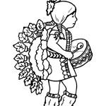 דף צביעה ילדה אינדיאנית מתופפת