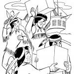 אינדיאנים נושאים ציוד מהספינה