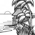 דף צביעה בקתה על שפת הנהר בג'ונגל