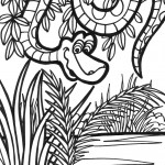 דף צביעה נחש מסתתר בג'ונגל 2