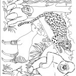 דף צביעה קופים, נמר ואיילות בג'ונגל