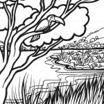 תוכי צופה על נהר בג'ונגל