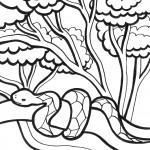 דף צביעה נחש בג'ונגל
