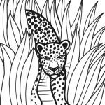 דף צביעה נמר בג'ונגל