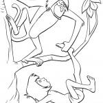 דף צביעה הקוף מחלץ את מוגלי