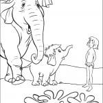 דף צביעה מוגלי והפילים מיניפרד והאטי