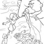 דף צביעה מוגלי וחבריו נמלטים משירחן