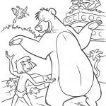דף צביעה מוגלי ובאלו הדוב רוקדים
