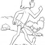 דף צביעה מוגלי צועד בג'ונגל