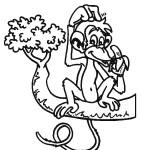 דף צביעה קוף עם בננה על ענף