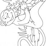 דף צביעה קוף חייכן קוטף בננות
