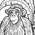 דף צביעה קוף 1